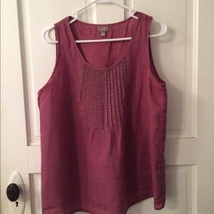 J Jill medium pin tuck plum colored blouse